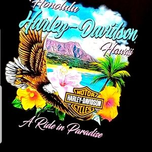 Ride In Paradise Harley Honolulu Graphic Tee Shirt